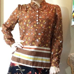 Vintage Tops - Vintage 70's Built By Wendy Long Sleeve Blouse